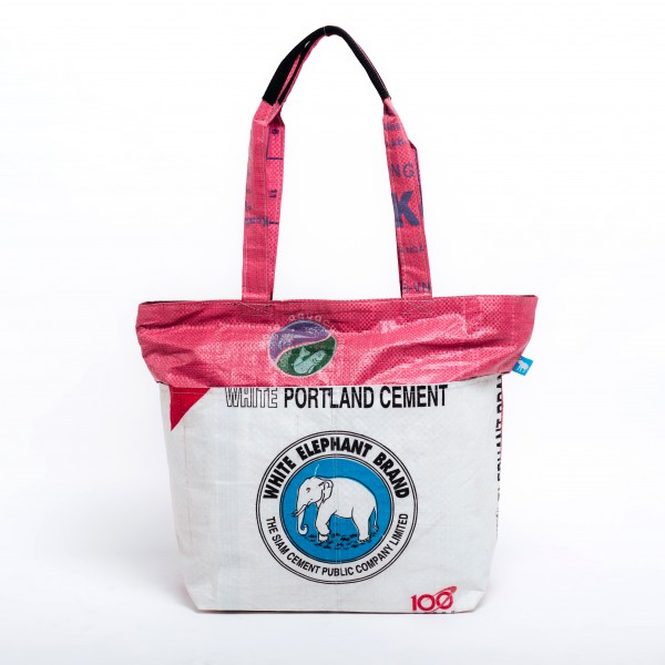 Recyclingtasche Shopper Line Blue - pinker Balken