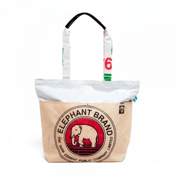 Recyclingtasche Shopper Line Red - weißer Balken