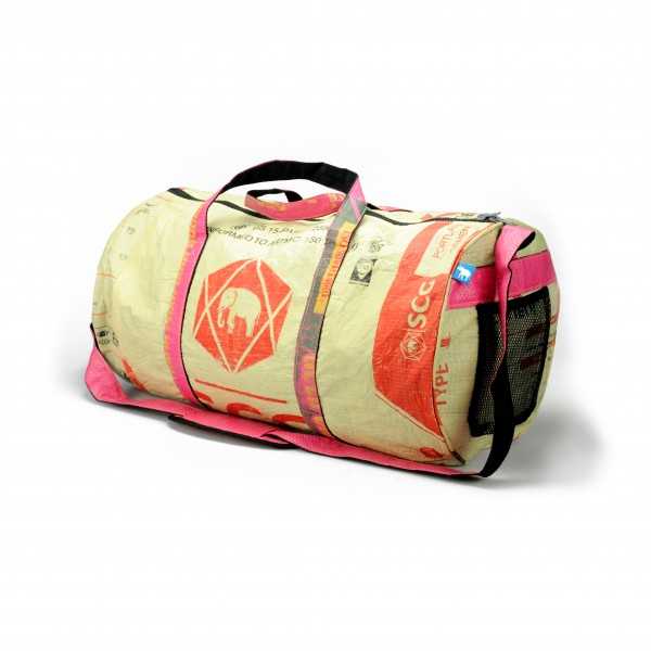 Recyclingtasche Weekender L Red - pinke Tragegurte