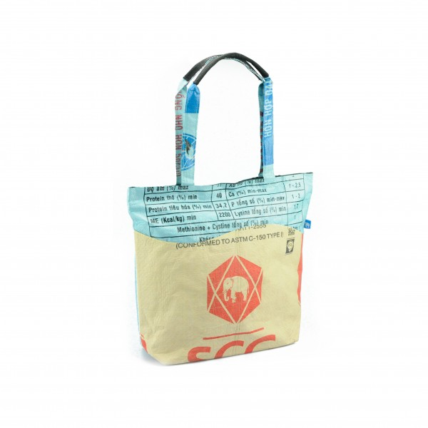 Recyclingtasche Shopper Wave Red - türkise Welle