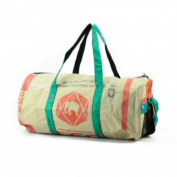 Recyclingtasche Weekender L Red - grüne Tragegurte