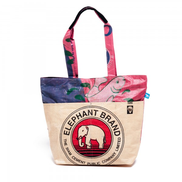Recyclingtasche Shopper Line Red - pinker Balken