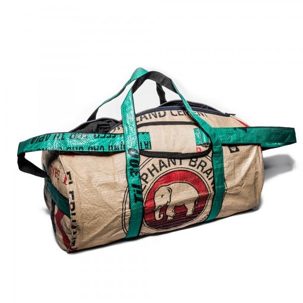 Recyclingtasche Weekender M Red - grüne Tragegurte