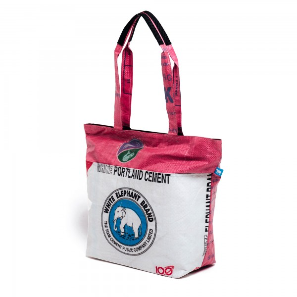 Recyclingtasche Shopper Line Blue - pinker Balken